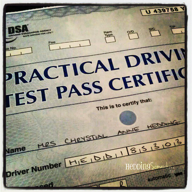Driving Test Pass Certificate